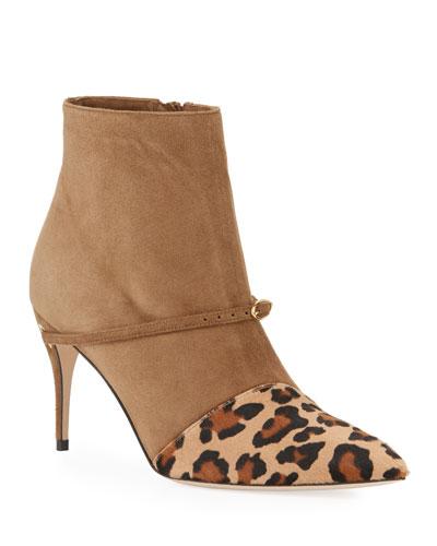 Nicolo Leopard Slanted Pony Booties