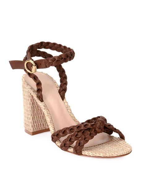 Gianvito Rossi 85mm Raffia Block-Heel Sandals