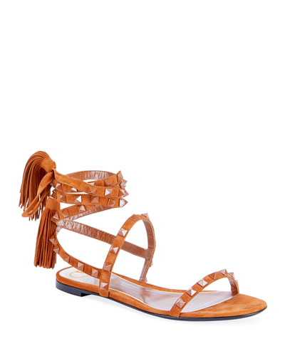 Suede Tassel Rockstud Flat Sandals