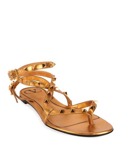 Metallic Rockstud Flat Sandals
