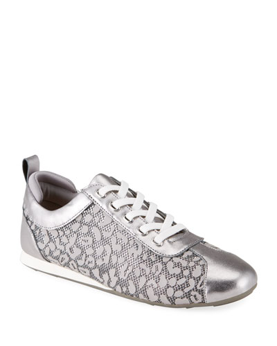 Silva Metallic Leopard Lace-Up Sneakers