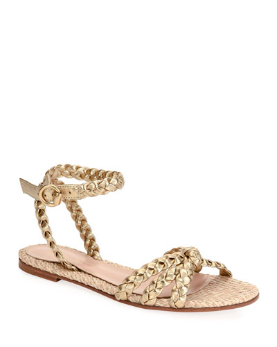 Raffia & Braided Leather Flat Sandals