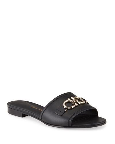 Casual Gancini Horsebit Flat Slide Sandals