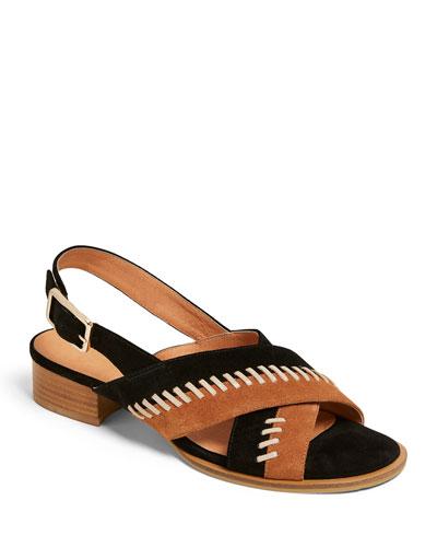 Amelia Stitched Suede City Sandals