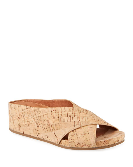 Gentle Souls Gisele Crisscross Cork Wedge Slide Sandals
