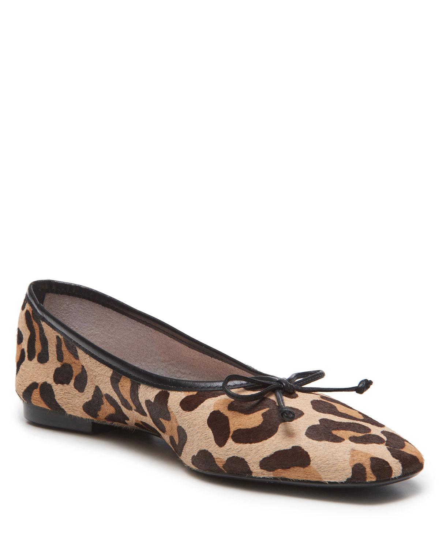 Arissa Leopard-Print Fur Ballet Flats