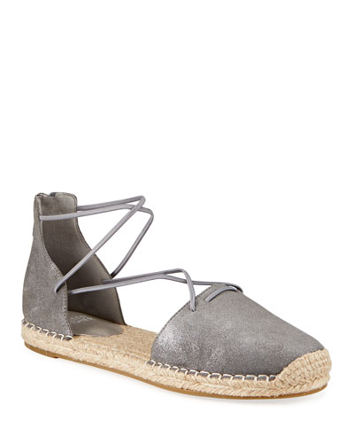 Lace d'Orsay Flat Metallic Leather Espadrilles