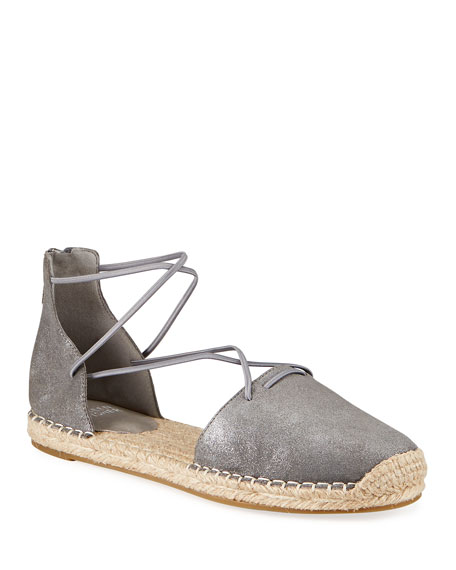 Eileen Fisher Lace d'Orsay Flat Metallic Leather Espadrilles