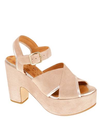 Yendi Suede Ankle-Strap Platform Sandals