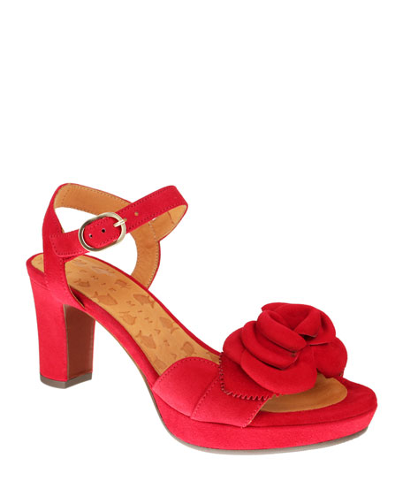 Chie Mihara Nu-Blossom Suede Flower Ankle Sandals