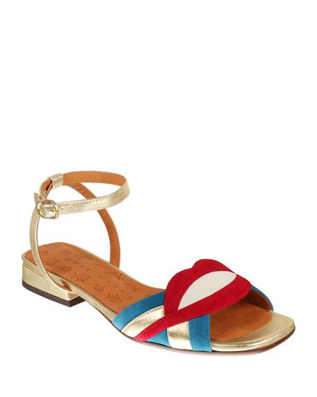 Chie Mihara Timai Suede Colorblock Sandals