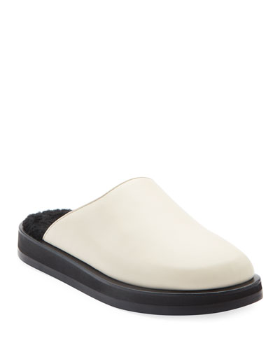 Sabot Leather Mules with Shearling Footbed
