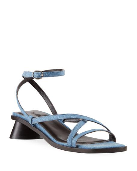 BY FAR Yumi 30mm Oval-Heel Denim Sandals