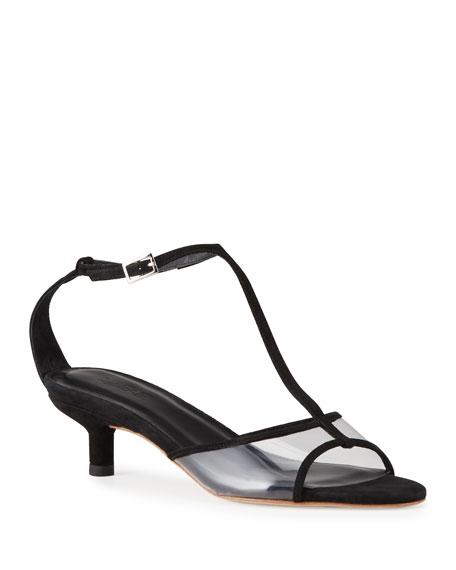 BY FAR Baby 45mm Kitten-Heel T-Strap Sandals
