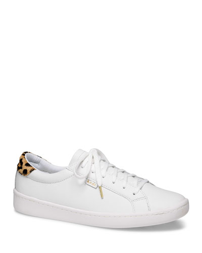 x kate spade ace leather/leopard sneakers
