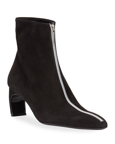 Pointed-Toe Suede Zip Booties