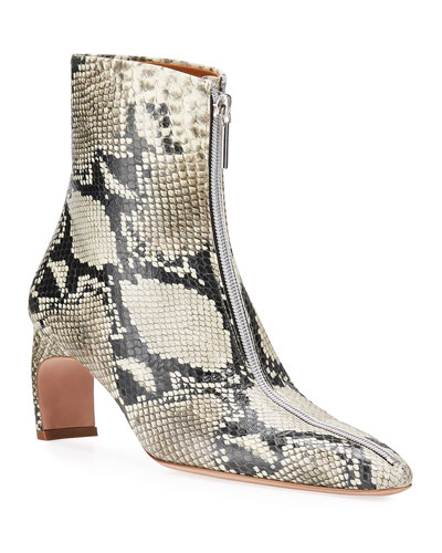 Snake-Print Leather Zip Booties