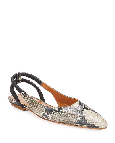 Snake-Print Leather Slingback Flats
