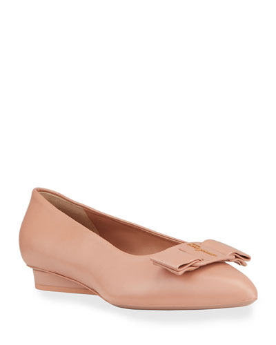 Viva Leather Bow Ballerina Flats