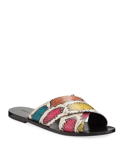 Harrieta Flat Snake-Print Slide Sandals
