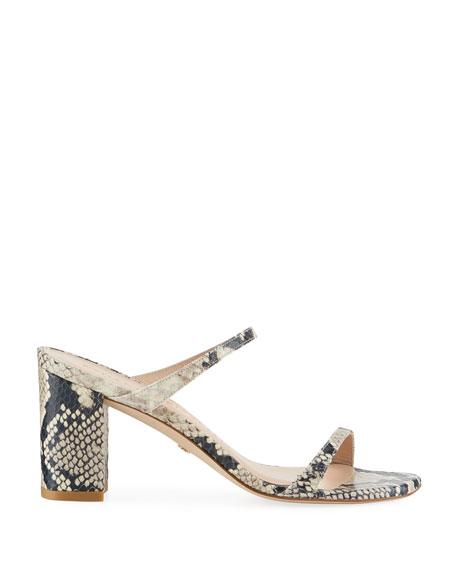 Stuart Weitzman Aleena Square-Toe Snake-Print Leather Sandals