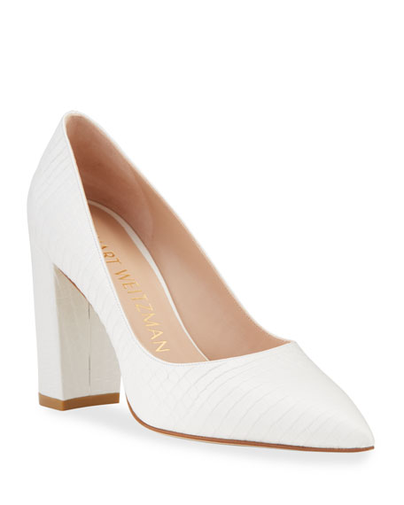 Stuart Weitzman Laney 95 Embossed Leather Pumps