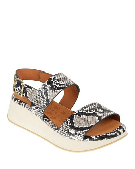Chie Mihara Woka Chunky Platform Snakeskin-Print Sandals