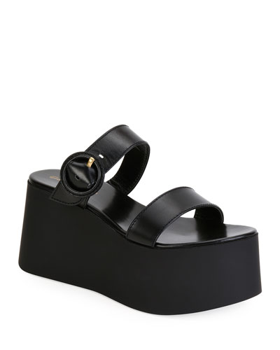 Leather Buckle Flatform Sandals