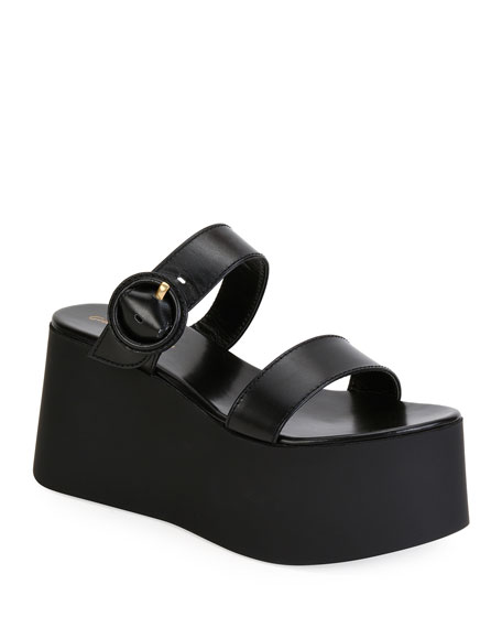 Gianvito Rossi Leather Buckle Flatform Sandals