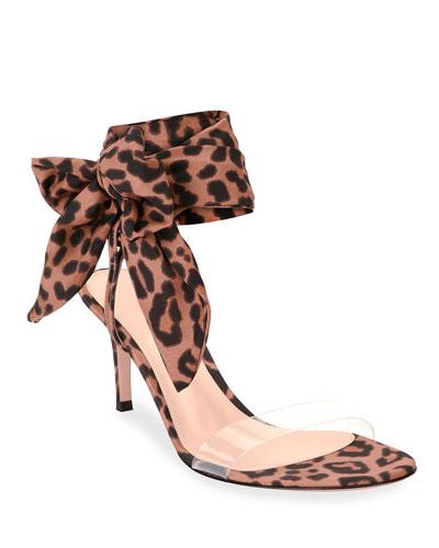 Leopard Ankle-Wrap Sandals