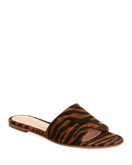 Gianvito Rossi Zebra-Print Suede Slide Sandals