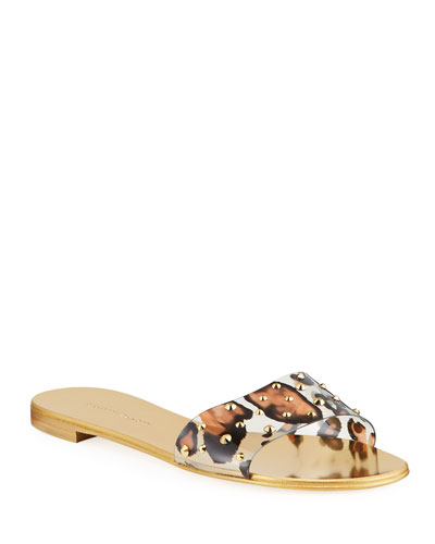 Leopard-Print Studded Flat Slide Sandals