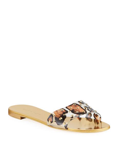 Giuseppe Zanotti Leopard-Print Studded Flat Slide Sandals
