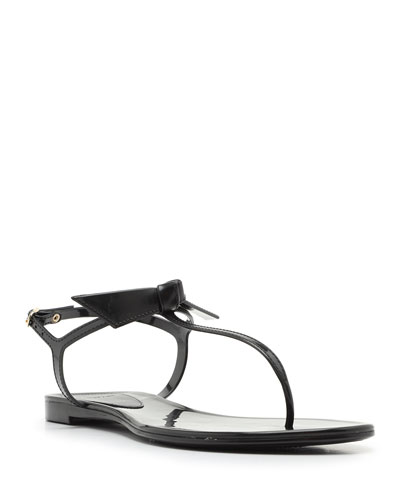 Clarita Mixed Leather Flat Sandals