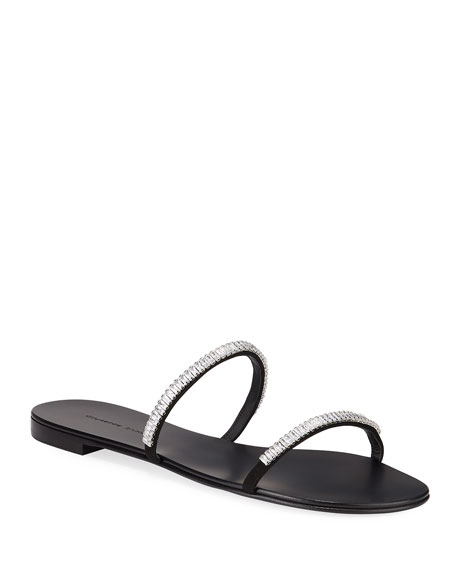 Giuseppe Zanotti Flat 2-Band Crystal Slide Sandals