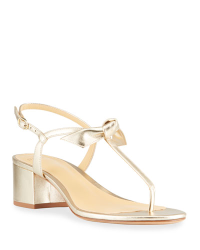 Clarita Metallic T-Strap Block-Heel Sandals