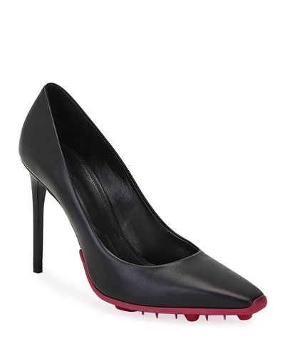 Spike Leather Stiletto Pumps