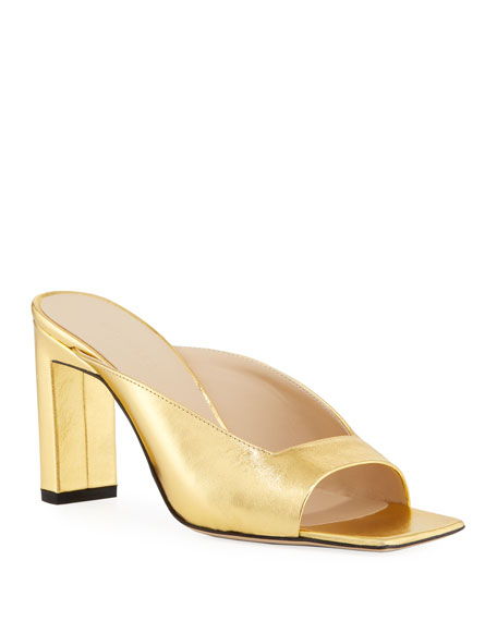 Wandler Isa Metallic Leather Slide Sandals