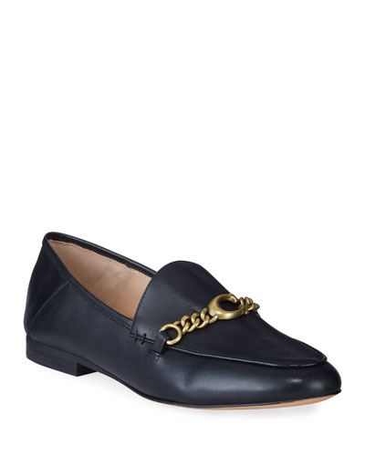 Helena Chain Leather Loafers
