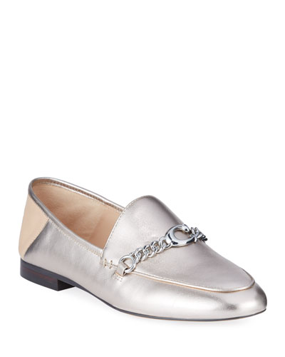 Helena Chain Metallic Leather Loafers
