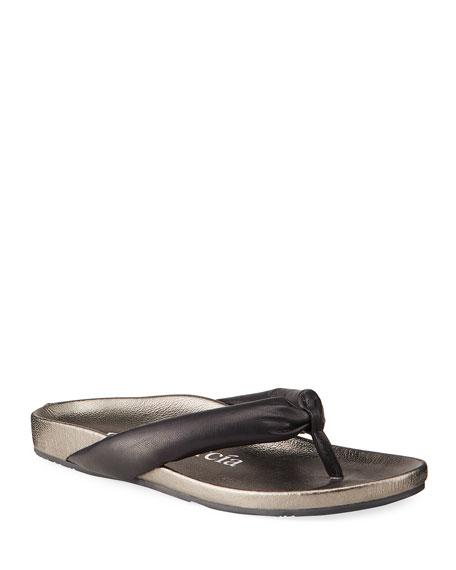 Pedro Garcia Anita Metallic Leather Thong Sandals