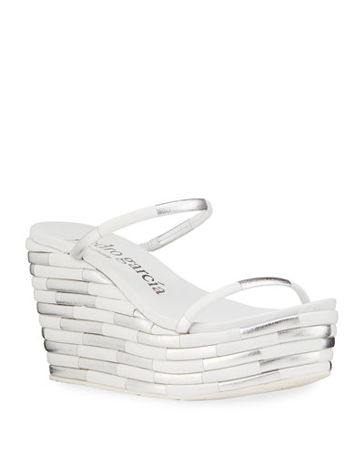 Denita Two-Tone Strap Wedge Sandals