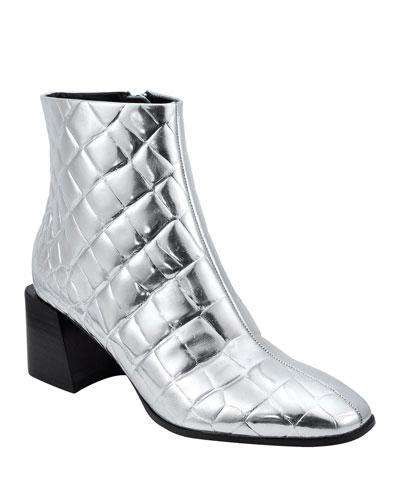 Mandel 2 Metallic Quilted Leather Booties