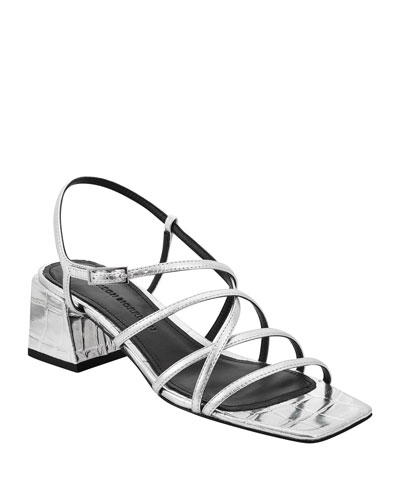Ellia Crisscross Metallic Leather Strappy Sandals