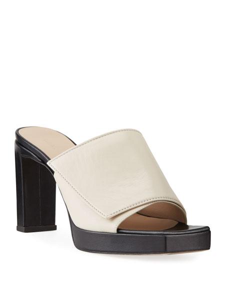 Wandler Isa Platform Square-Toe Slide Sandals