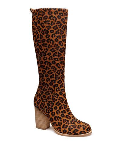 BB Leopard-Print Knee Boots