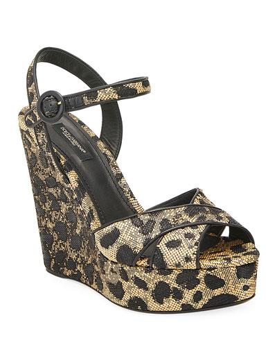 90mm Leopard-Print Wedge Platform Sandals