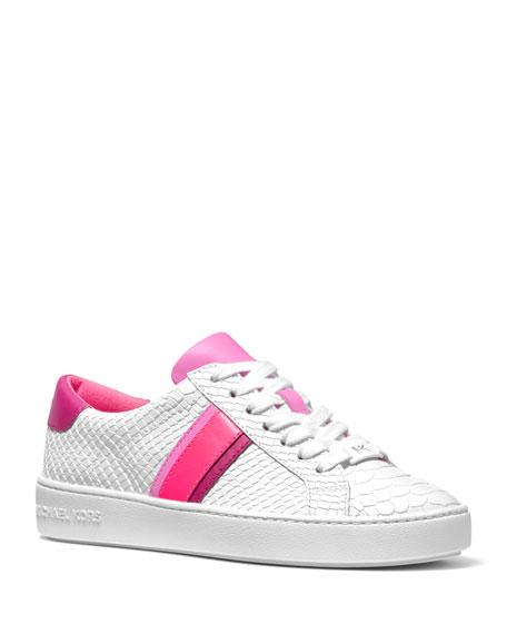 MICHAEL Michael Kors Irving Stripe Mock-Croc Court Sneakers