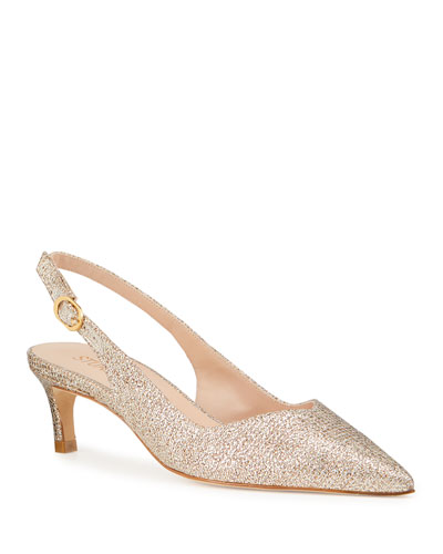Edith Low-Heel Glitter Slingback Pumps