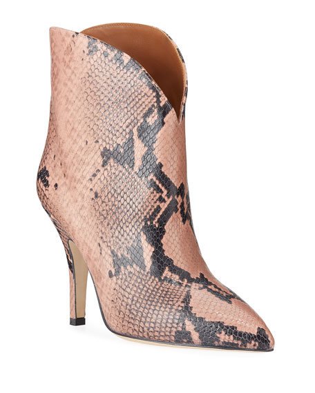 Paris Texas Python-Print Heeled Ankle Boots